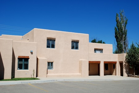 boxy: Mock adobe Southwestern office building, Taos, New Mexico