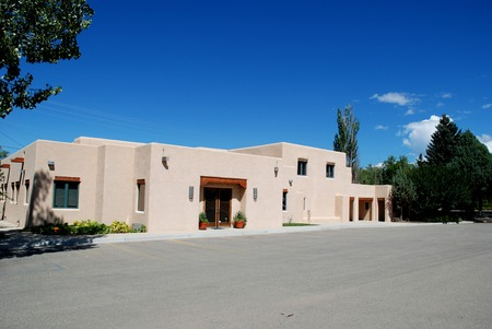 Mock adobe Southwestern office building, Taos, New Mexico
