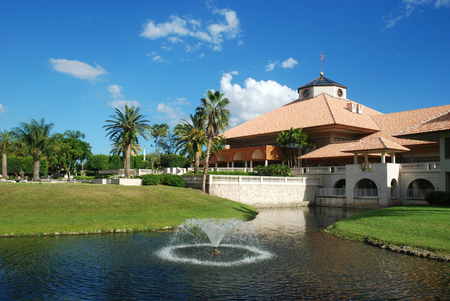 country club: Spanish style resort building at a country club, Miami, Florida Stock Photo