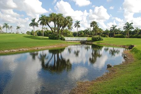 footbridge: Canal with footbridge, Miami, Florida