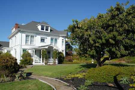 Cape Cod style guesthouse, Fort Bragg, California 写真素材