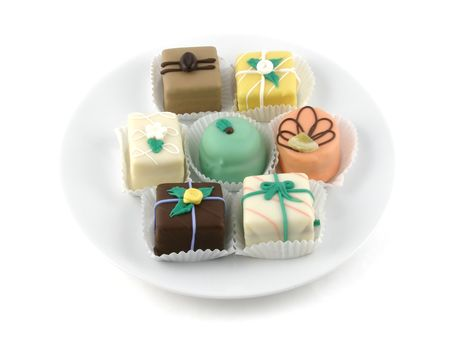 petit: A plate of petit fours