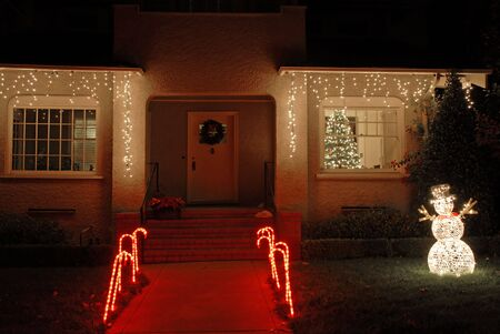 alto: House decorated for Christmas, Palo Alto, California