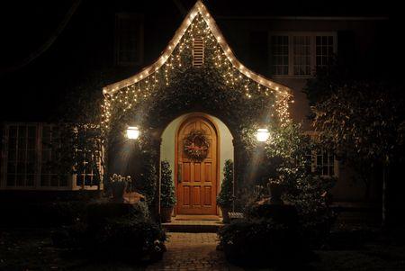 Home decorated for Christmas, Palo Alto, California