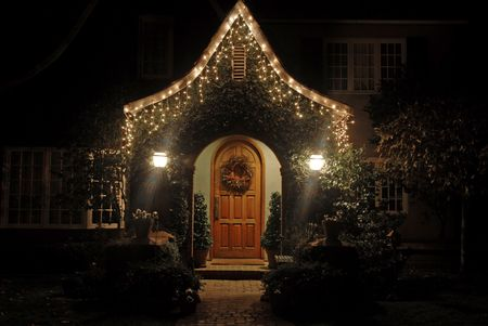 Home decorated for Christmas, Palo Alto, California
