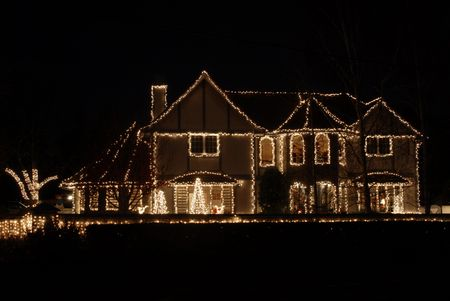 Impressive home decorated for Christmas, Los Altos, California