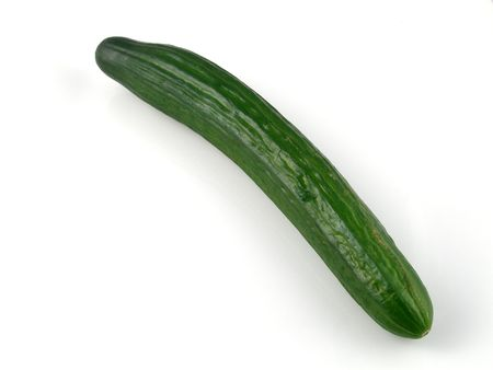 An English cucumber, isolated on white