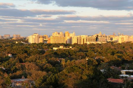 gables: Dusk over Coral Gables, Florida Stock Photo