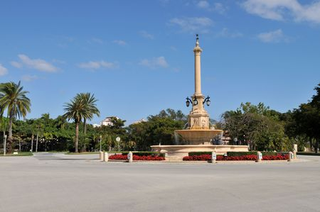gables: Fountain in a traffic circle, Coral Gables, Florida Stock Photo