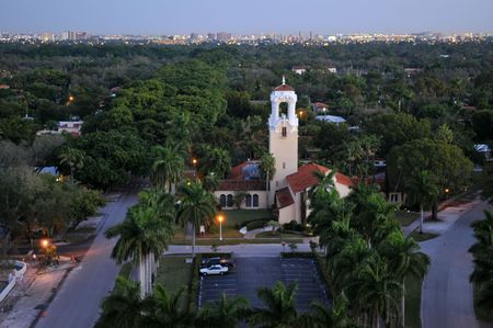 gables: Dawn over Coral Gables, Florida Stock Photo