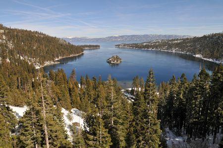 south lake tahoe: Fannette Island in Emerald Bay, South Lake Tahoe, California Stock Photo