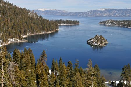 fannette: Fannette Island in Emerald Bay, South Lake Tahoe, California Stock Photo
