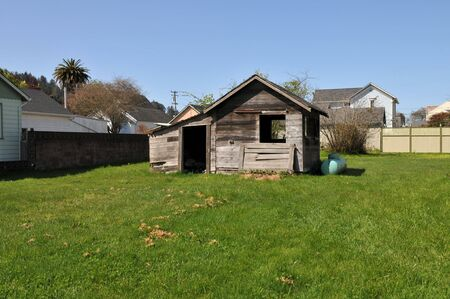 Old battered utility shed, Ferndale, California
