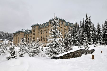 Chateau Lake Louise in winter, Banff National Park, Alberta, Canada