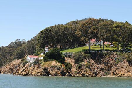 coast guard: Coast Guard lighthouse and building, Yerba Buena Island, California Stock Photo