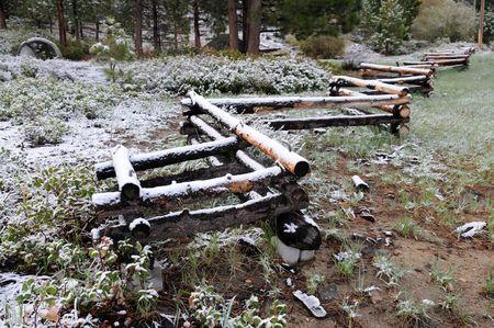 south lake tahoe: Snow on a log fence, South Lake Tahoe, California