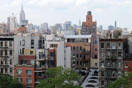 Looking uptown from Houston Street, Lower Manhattan, New York, New York Stock Photo - 3327854