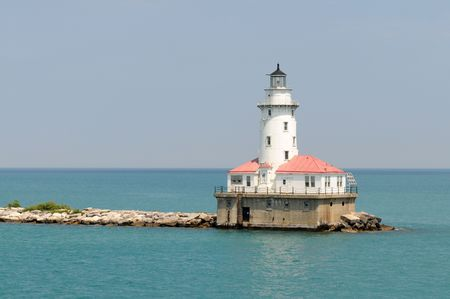 lake michigan lighthouse: Faro de entrada a Navy Pier, Chicago, Illinois Foto de archivo