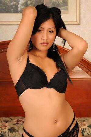 Beautiful Filipino girl in black lingerie Stock Photo - 3844652