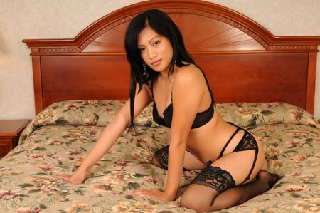 garter belt: Beautiful Filipino girl in black lingerie