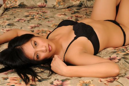 Beautiful Filipino girl in black lingerie
