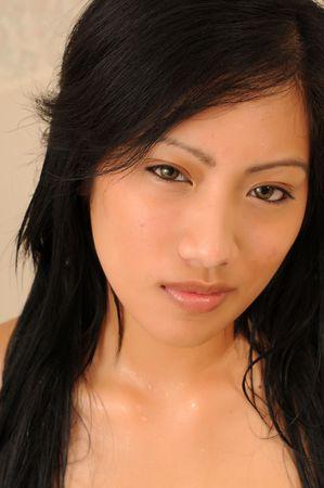 filipina: Closeup on the face of a beautiful young Filipino girl Stock Photo