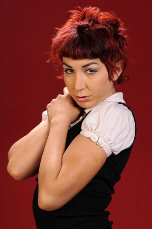 elfin: Elfin girl with punk red hair in black & white