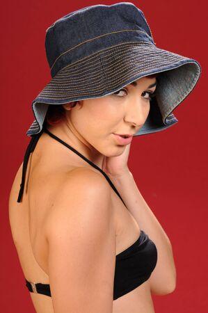 elfin: Elfin girl in black underwear and a floppy hat
