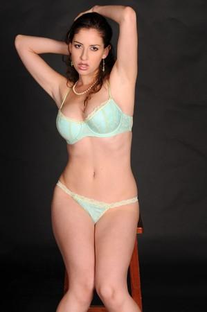 light blue lingerie: Beautiful brunette in light blue bra and panties