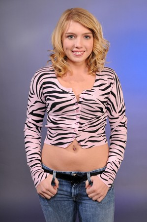 blue button: Pretty blonde teenager in a pink tiger stripe blouse and jeans