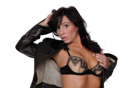 aviators: Beautiful brunette in a lacy bra and an aviators leather jacket