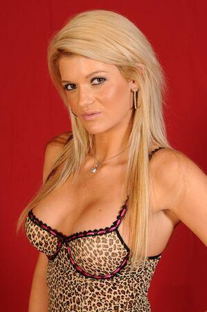leopard print lingerie: Beautiful blonde in leopard print lingerie