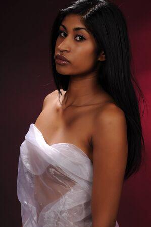 sheer: Beautiful young Indian woman draped in sheer white fabric Stock Photo
