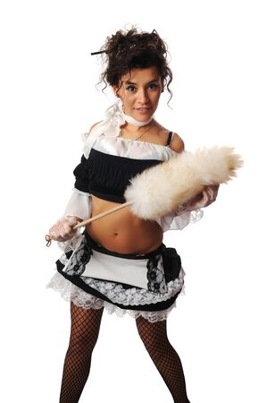 french maid: Pretty Colombian woman dressed as a French maid Stock Photo