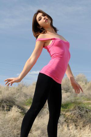 Beautiful young brunette in the desert, Hesperia, California Zdjęcie Seryjne