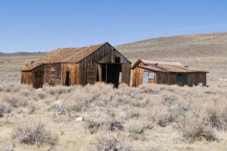 worn structure: Abandoned buildings, Bodie State Historic Park, California