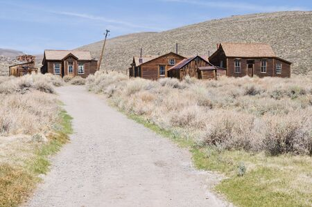 bodie: Road to abandoned homes, Bodie State Historic Park, California Stock Photo