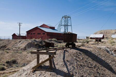 car hoist: Mine car, hoist and building, Tonopah, Nevada