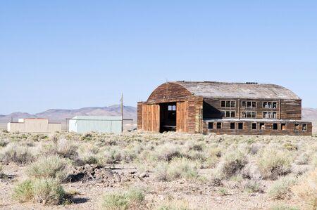 Wooden hangar for aircraft, Tonopah Airport, Tonopah, Nevada Stock Photo