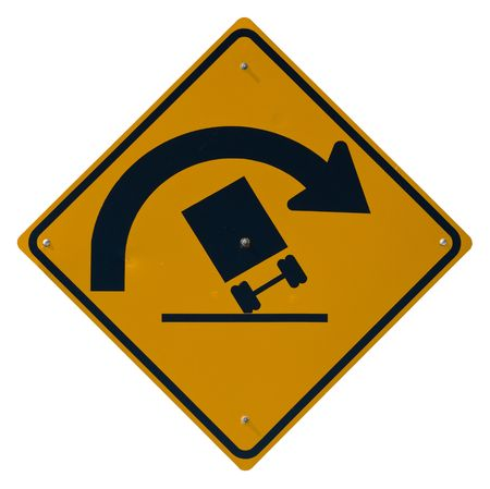 Sharp Curve - Danger of Overturning isolated road sign Stock Photo - 4891499