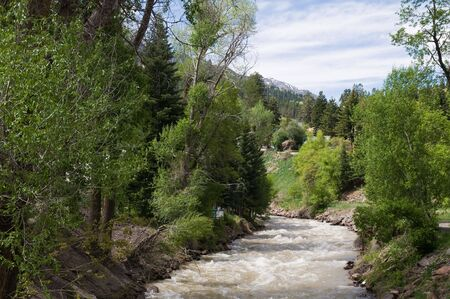 ouray: The Uncompahgre River through the mountain town of Ouray, Colorado