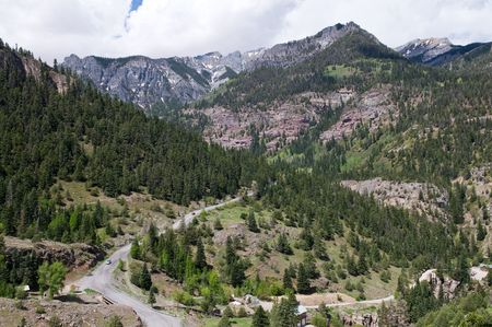 ouray: A view from above of a mountain road, Ouray, Colorado
