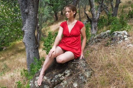 Beautiful young brown haired woman in the woods, Mt. Diablo State Park, Clayton, California photo