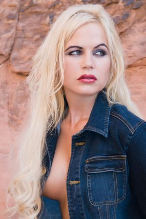 Beautiful topless blond in denim jacket, Red Rock Canyon, Nevada Stock Photo - 5251076