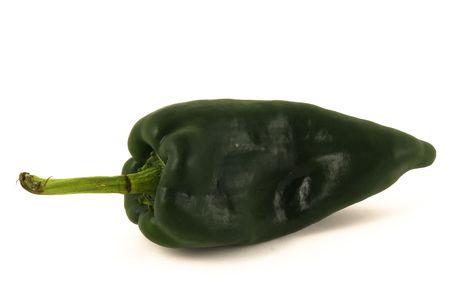 Green pasilla chile pepper isolated on white 免版税图像 - 5264172