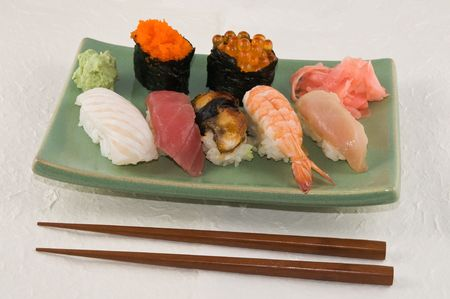 hashi: A plate of nigiri sushi Stock Photo