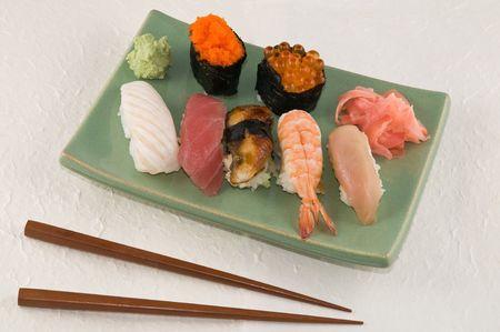 A plate of nigiri sushi Stock Photo