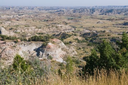 badlands: The Badlands, Theodore Roosevelt National Park, Medora, North Dakota Stock Photo