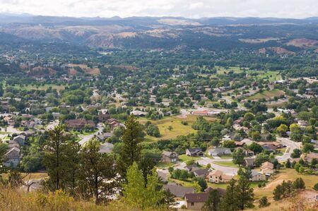 rapid: Looking down on the eastern suburbs of Rapid City, South Dakota Stock Photo