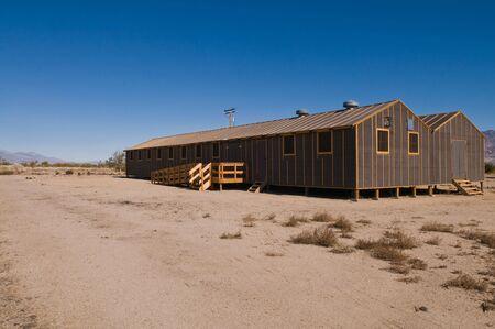 barracks: Barracks building at the former Manzanar internment camp